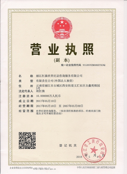 Carrying The Flag World Record Lijiang Company Business License