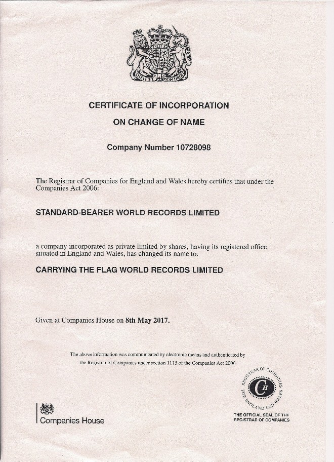 CARRYING THE FLAG WORLD RECORDS LIMITED UK Registration Certificate