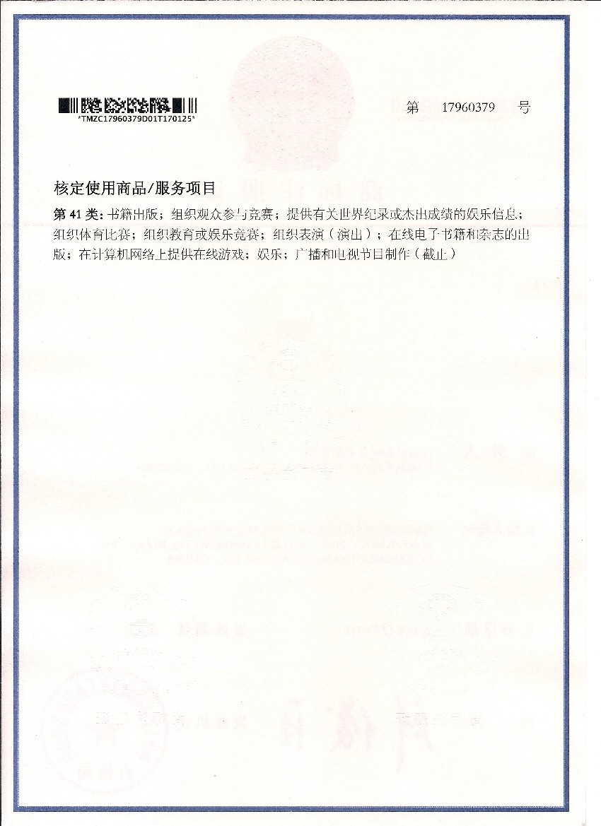 Carrying The Flag World Record China Trademark Certificate No. 17960379